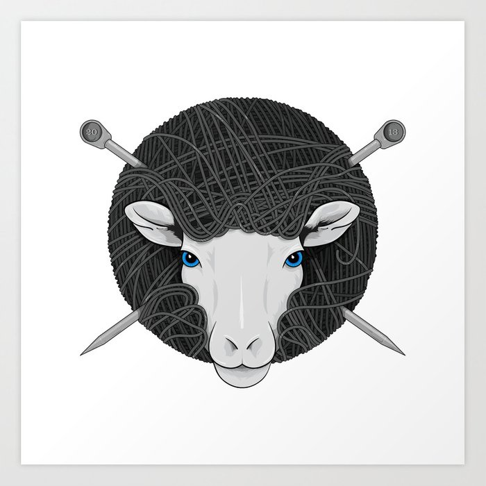 Woollen Head (Sheep & Cross Needles) Art Print