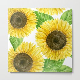 Sunflowers watercolor Metal Print