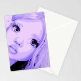 Lavender Big Eyes Little Girl African Stationery Cards