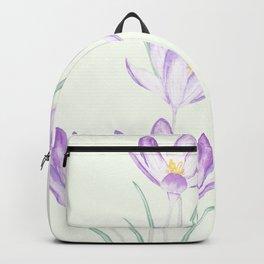 purple botanical crocus flowers Backpack