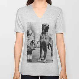 The Happiness of Little Girls and Great Danes black and white photograph Unisex V-Neck
