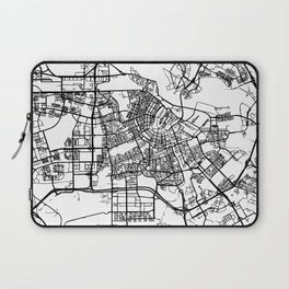 AMSTERDAM NETHERLANDS BLACK CITY STREET MAP ART Laptop Sleeve