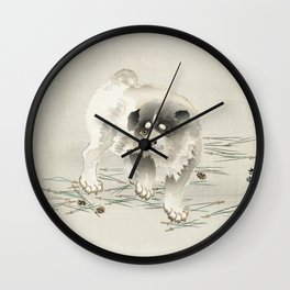 Japanese fine art, Young dog by Ohara Koson Wall Clock