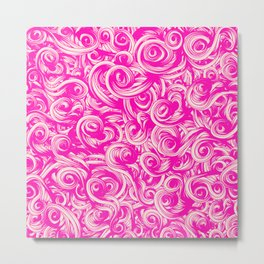 Abstract Girly Neon Pink Floral Swirls Pattern Metal Print