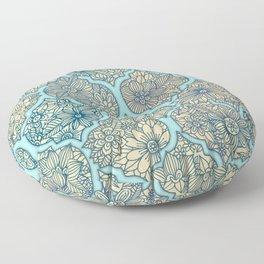 Moroccan Floral Lattice Arrangement - aqua / teal Floor Pillow