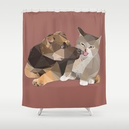 Low Poly German Shepard Puppy and Cat Shower Curtain