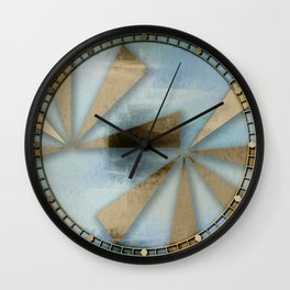 Rusted Triangles on Blue Grey Backdrop Wall Clock