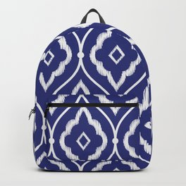 Embroidery vintage pattern illustration with porcelain indigo blue and white Backpack