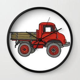 Red truck / transporter Wall Clock
