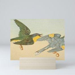 Vintage Print - Nashville Warbler & Golden-Winged Warbler Mini Art Print