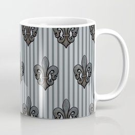 Fleur de Lis on Stripes in Gray Coffee Mug
