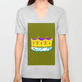 A Royal Crown with a Green Background Unisex V-Neck