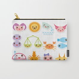 Funny Kawaii zodiac sign, astrological stiker virgo, aries, gemini, cancer, aquarius, taurus,  leo Carry-All Pouch