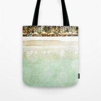 forever young Tote Bags featuring Forever Young by Jenndalyn
