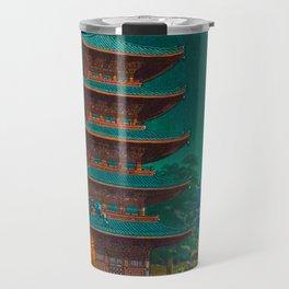 Tsuchiya Kôitsu Japanese Woodblock Vintage Print Garden At Night Moonlit Pagoda Tower Turquoise Travel Mug