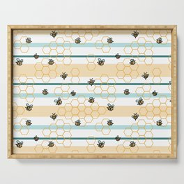 Bumble Bees in Striped and Honeycomb Hexagons Serving Tray