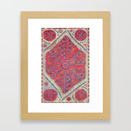 Large Medallion Suzani  Antique Uzbekistan Embroidery Print Framed Art Print