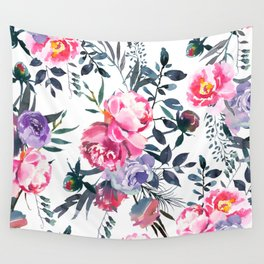 Summer Pink Lavender Navy Watercolor Flowers Wall Tapestry