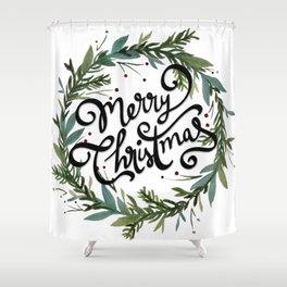 Merry Christmas Wreath Shower Curtain