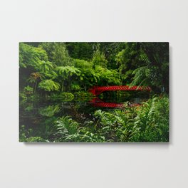 Red Bridge in the Park Metal Print