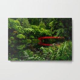 Red Bridge in the Park Metal Print