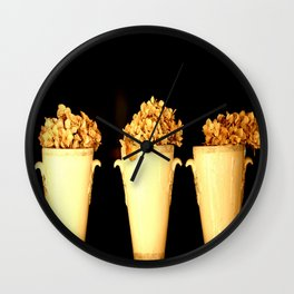 Three Flower Pots On A Black Background #decor #society6 Wall Clock