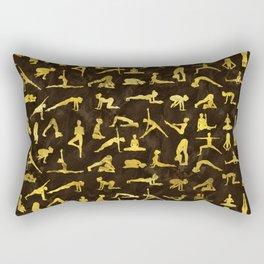 Gold Yoga Asanas / Poses pattern Rectangular Pillow