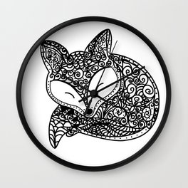 Black and White Mandala Fox Design Illustration Wall Clock