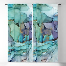 Aquamarine Teal Waves - Abstract Ink Blackout Curtain