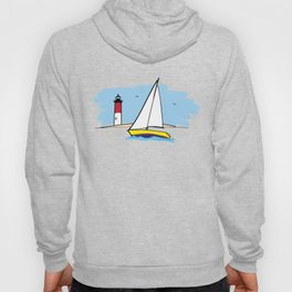 Sailboat Lighthouse and Beach Illustration Hoody