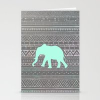mint Stationery Cards featuring Mint Elephant  by Sunkissed Laughter