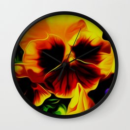 Painted Pansy - Red and Yellow Wall Clock