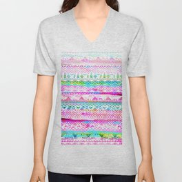 bohemian pattern in pink and turqupise soft colors Unisex V-Neck