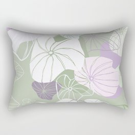 Large Abstract Dandelion Seeds Repeating Pattern on Green Rectangular Pillow