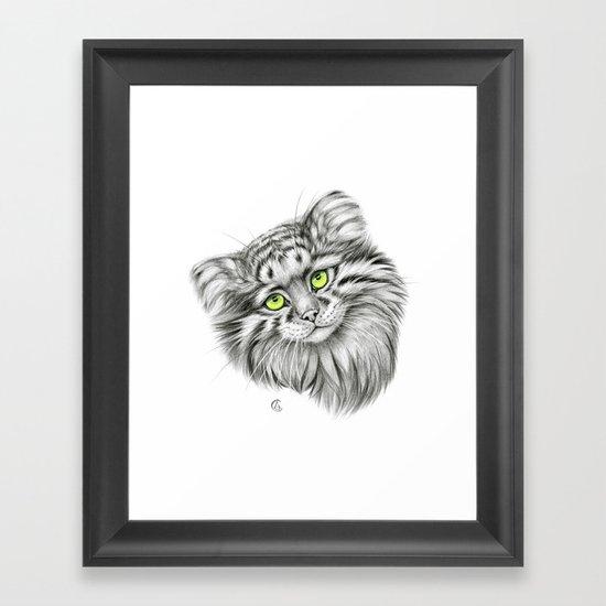 Pallas's Cat green G2012-51 Framed Art Print