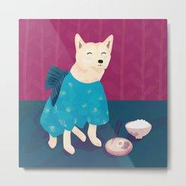 Akita Shiba Inu Dog in a Blue Kimono Eating Ramen and Rice - Cerise Background Metal Print