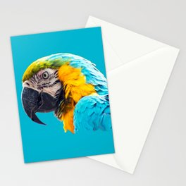 Macaw portrait on a turquoise background Stationery Cards