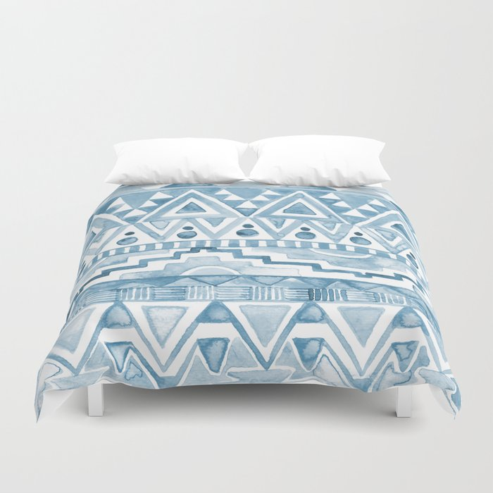 Watercolor Aztec Pattern blue Duvet Cover