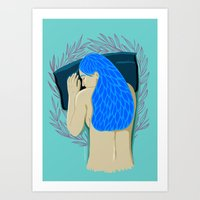 Sleeping Lady with Purple Florals Art Print