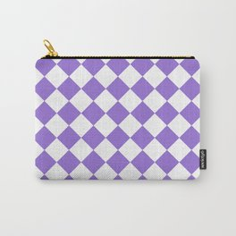 Diamonds - White and Dark Pastel Purple Carry-All Pouch