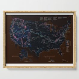 National Parks Trail Map Dark Neon Serving Tray