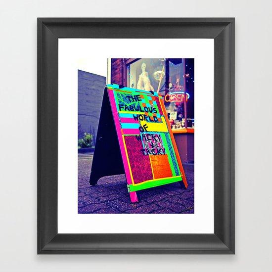 Colorful sidewalk sign Framed Art Print