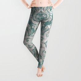 Teal and grey dirty denim textured boho pattern Leggings