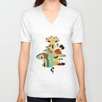 bar V-neck T-shirts featuring bar by Alevan
