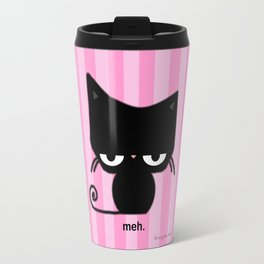 Meh Cat on Pink Stripes Travel Mug