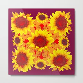 Yellow Sunflowers Abstract In Burgundy Color Metal Print
