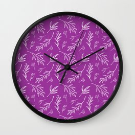 Bold Purple Botanical Print Wall Clock