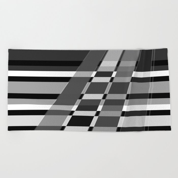 Black and white abstract pattern . The slant line 1. Beach Towel