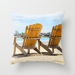Beach Chairs at the Lake - Summertime - Beach Decor Throw Pillow