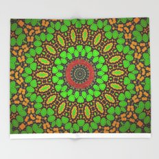 Lovely Healing Mandala  in Brilliant Colors: Green, Brown, Copper, and Maroon Throw Blanket